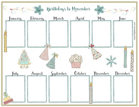 birthday reminder calendar template free birthday calendar