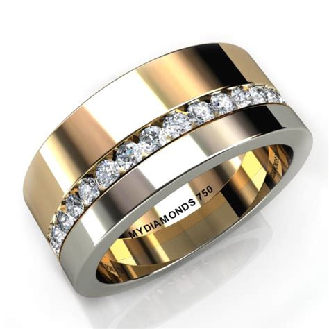 wedding rings with bands aramis s ring total 0 40 carats two tone