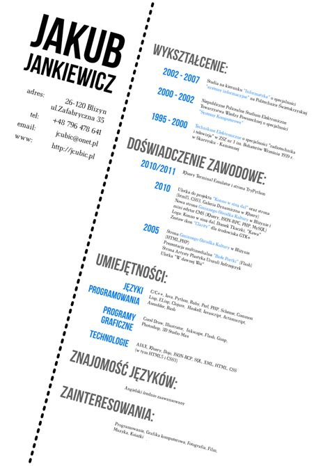 curriculum vitae sle for designer my cv design by jcubic on deviantart