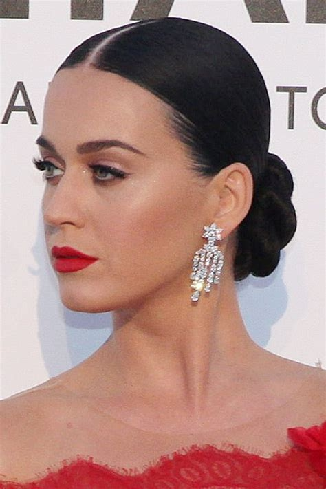 Katy Perry Hairstyle by Katy Perry Black Bun Updo Hairstyle