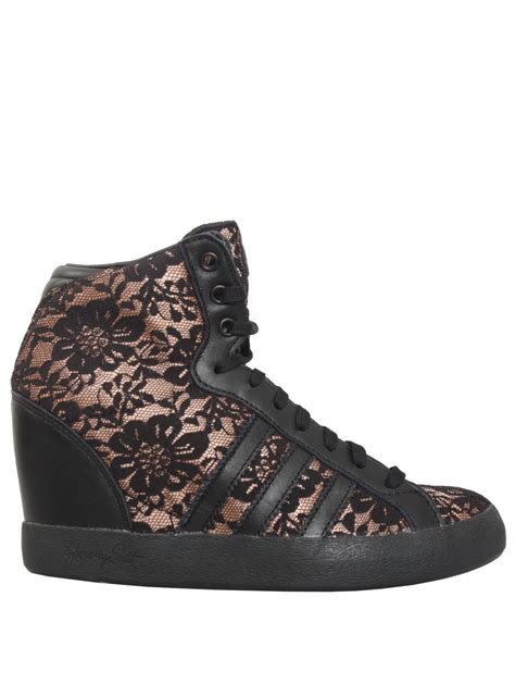 adidas wedge sneakers black for adidas lace wedge sneakers black in black