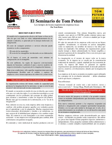 Tom Peters Mba by Excelencia Tom Peters
