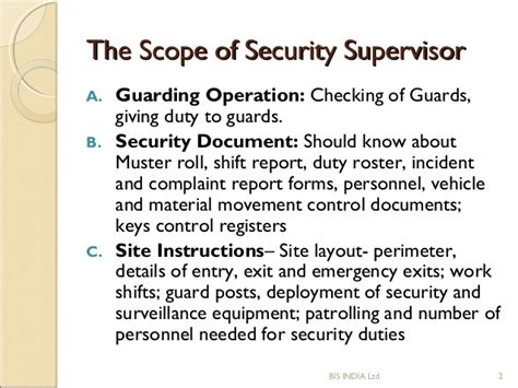 Sop Of Security Supervisor Security Sop Template
