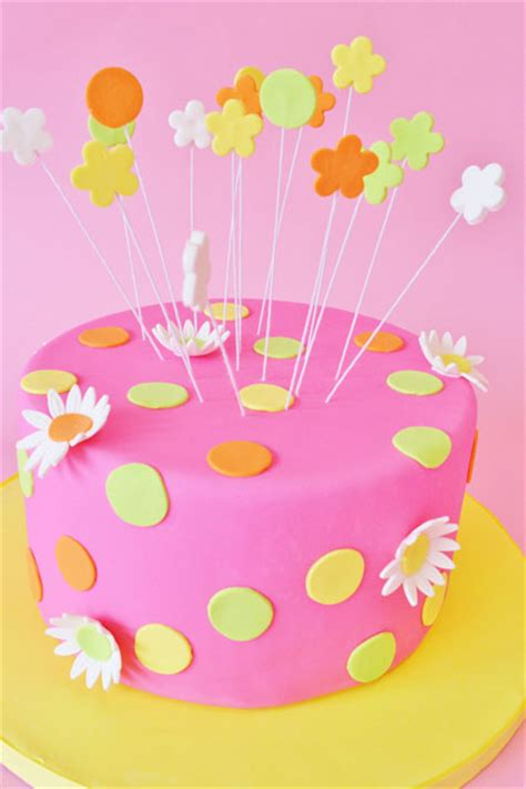mod cakery girl birthday cakes pink dots  flowers