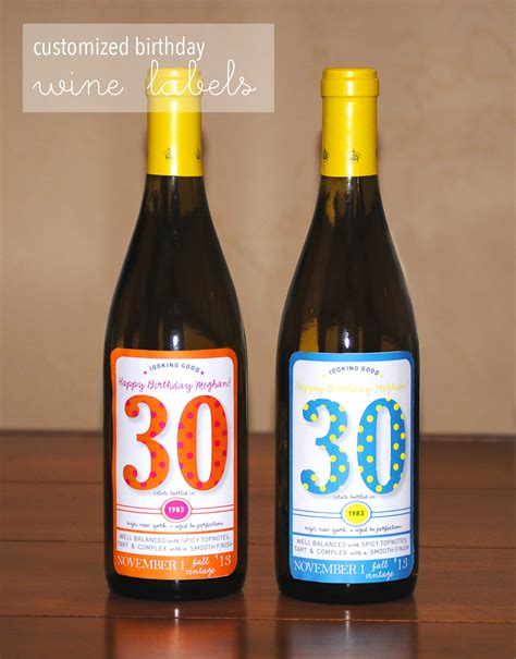 customized birthday wine labels lemons and letterpress