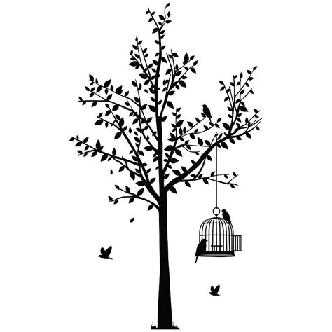 bird and tree wall stickers tree and birdcage wall sticker by spin collective