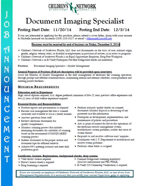 Document Imaging Specialist fgcu graduate programs in counseling 2014