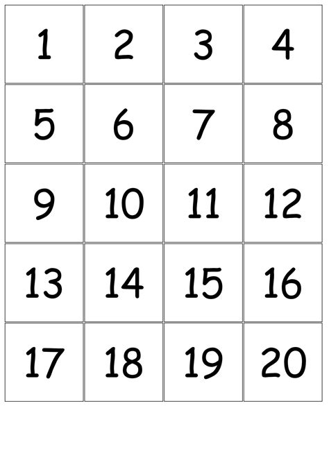 printable number square 1 20 5 best images of printable number cards 1 20 number