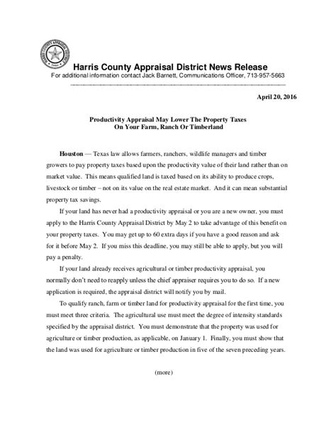Hcad Real Property Records Productivity Appraisal May Lower The Property Taxes