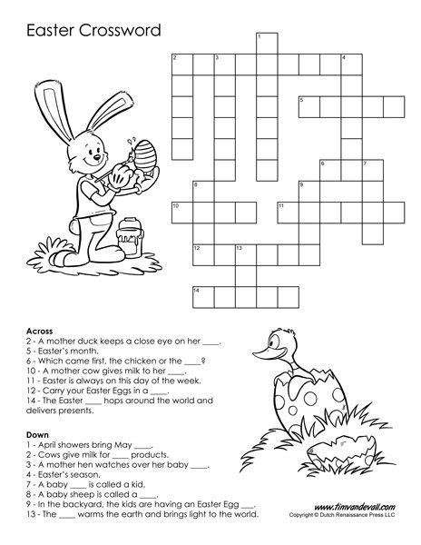 Easter Crossword Puzzle Easter Pinterest Easter