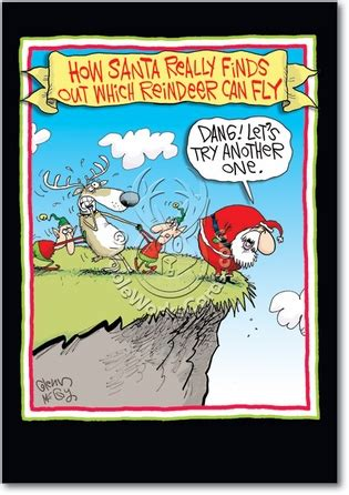 reindeer  fly glenn mccoy cartoon christmas card