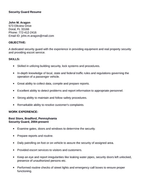 security guard resume template for free professional security guard resume template