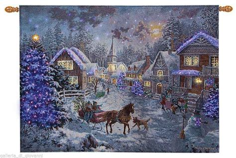 sunday evening sleighthomas kinkade fiber optic tapestry