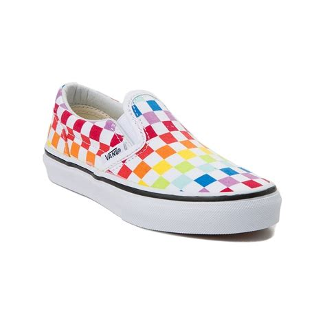 rainbow colored shoes youth vans slip on rainbow chex skate shoe multi 1498267