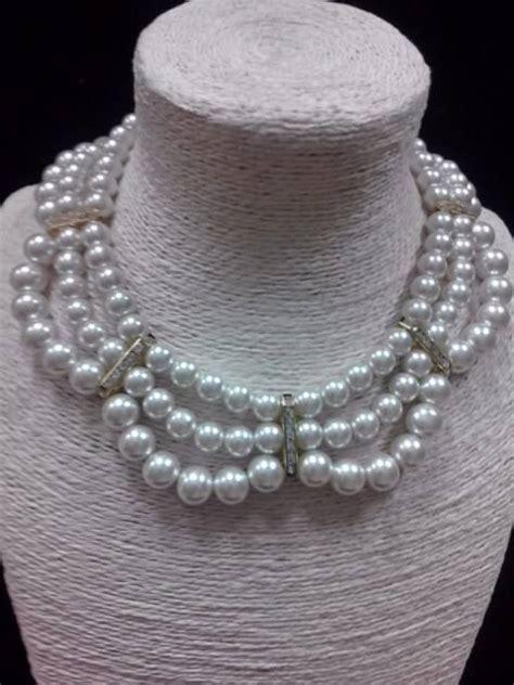 bisuteria con hilo tejido y cristal collar de perlas a 3 hilos y separadores con cristal