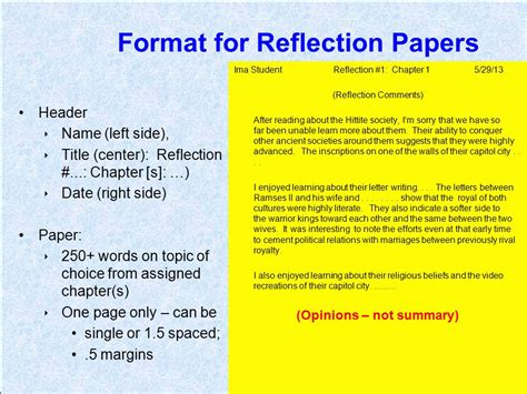 how to write a reflection paper format introductory info for 1211 assignments ppt