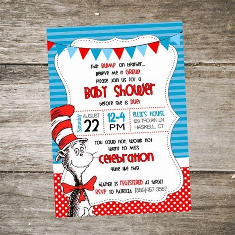 Dr Seuss Baby Shower Invitations Etsy by Cat In The Hat Baby Shower Invitation Dr Seuss Baby