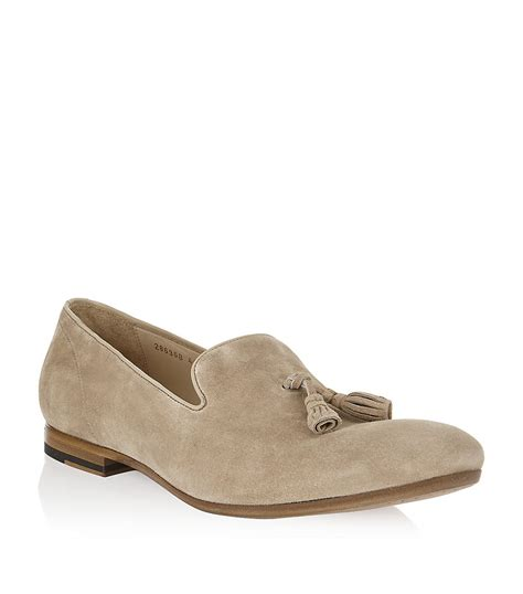 mens suede loafers with tassels mcqueen suede tassel loafer in beige for