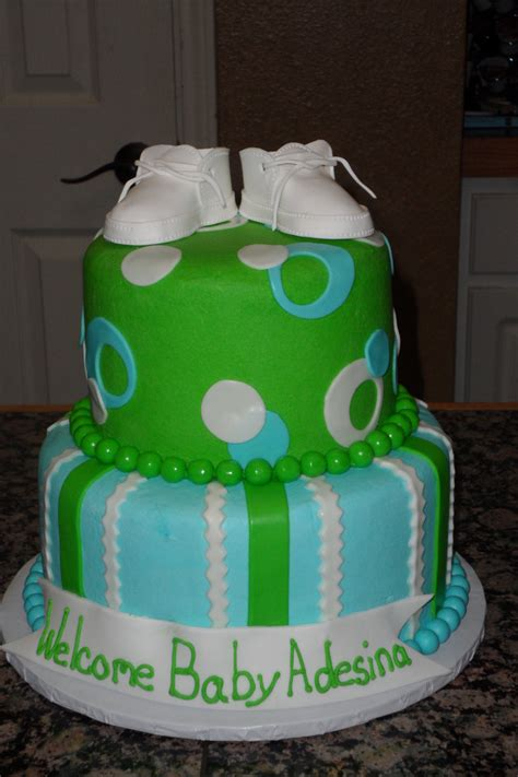 Green Baby Shower Cake by Lime Green And Blue Baby Shower Cake Cakecentral