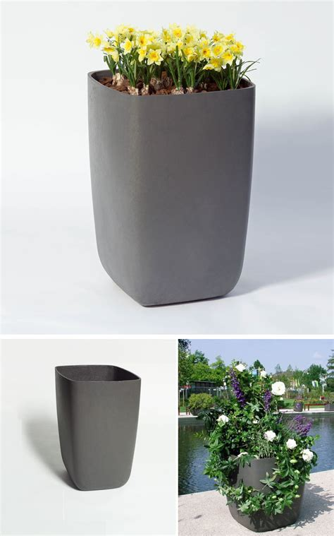 Samurai Tall Outdoor Planter Pot with Rounded Corners: NOVA68.com