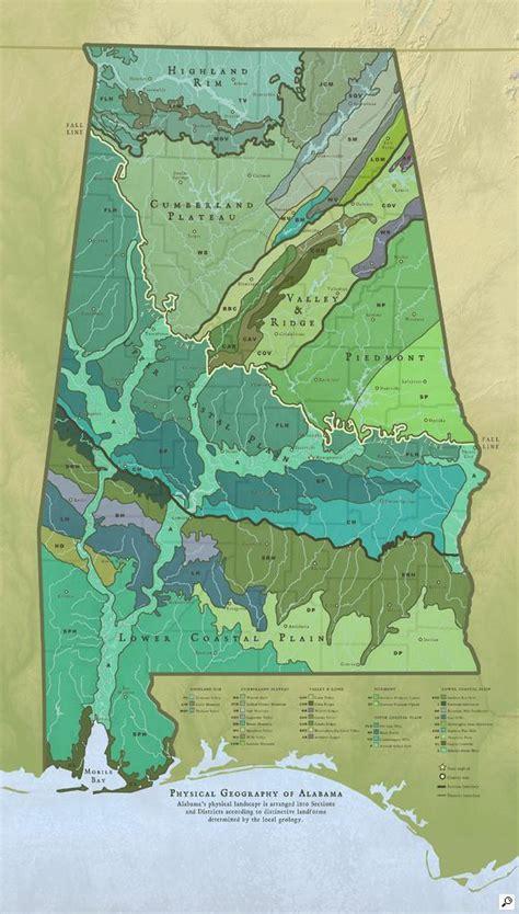 physical map of alabama map of the physical geography of alabama for alabama