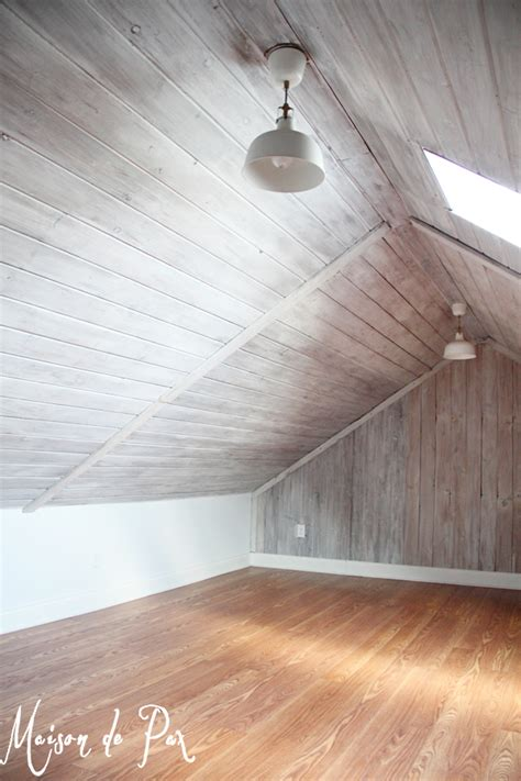 Wall Ceilings by Remodelaholic How To Whitewash A Plank Wall And Ceiling