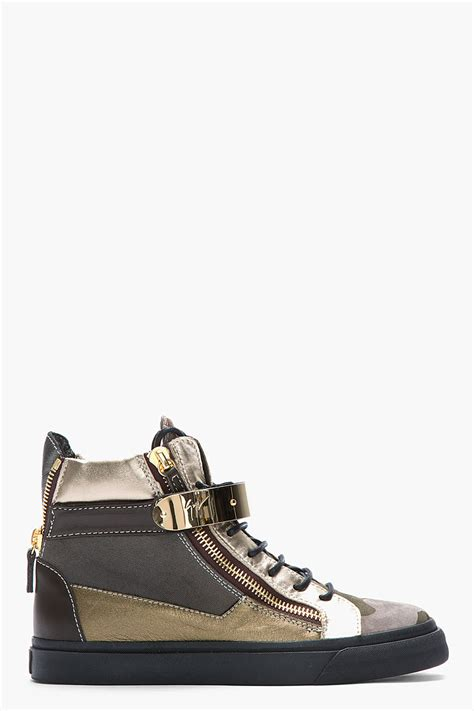 gold giuseppe sneakers giuseppe zanotti gold and camo canvas and leather