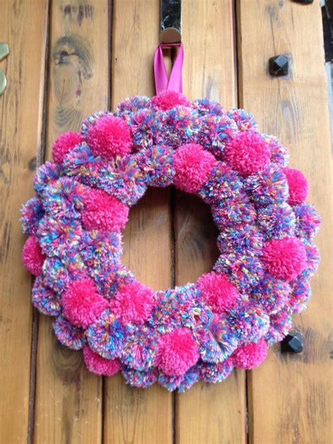 speckled pink pom door wreath  francenadesign  etsy wreath advent pinterest door
