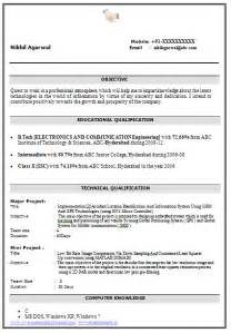 Technical Resume Format For Freshers by Resume Format For B Tech Freshers Resume Format