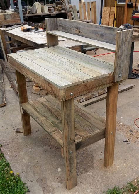 rustic potting bench rustic potting table by alliecatcreations8 on etsy