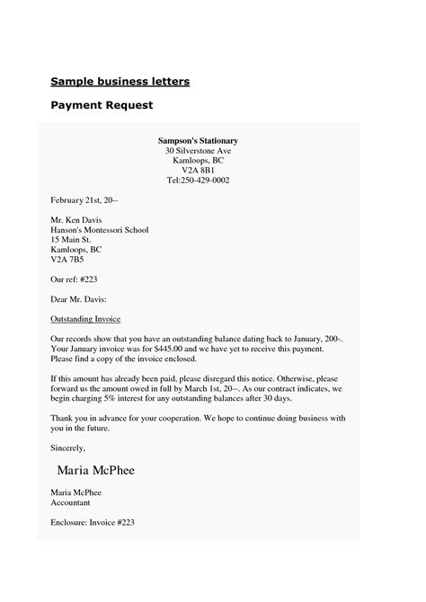business letter enclosure free business template