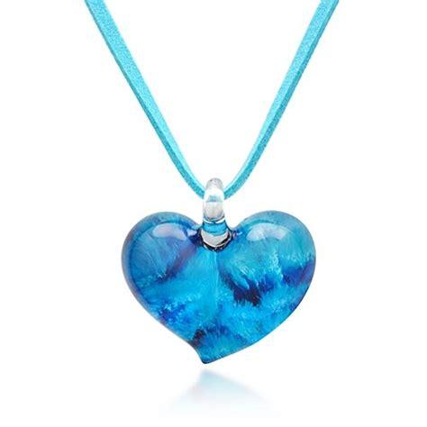 Chuvora Hand Blown Venetian Murano Glass Pendant Necklace Blue Heart Shaped $12.99