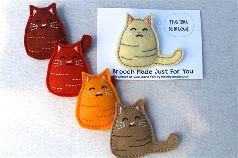 Handmade Gifts For Cat - felt brooch cat gift handmade gift cat pin
