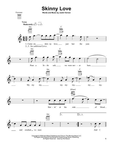 Ukulele Tutorial Skinny Love | skinny love sheet music by bon iver ukulele 160946