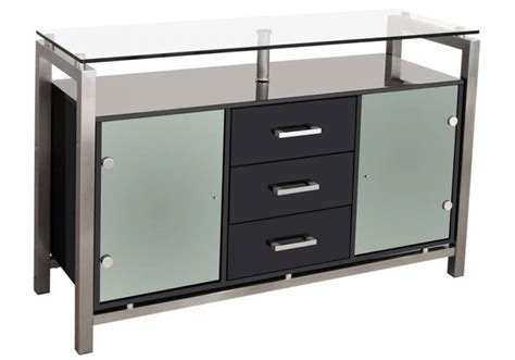 febland glass top sideboard brushed steel frame with