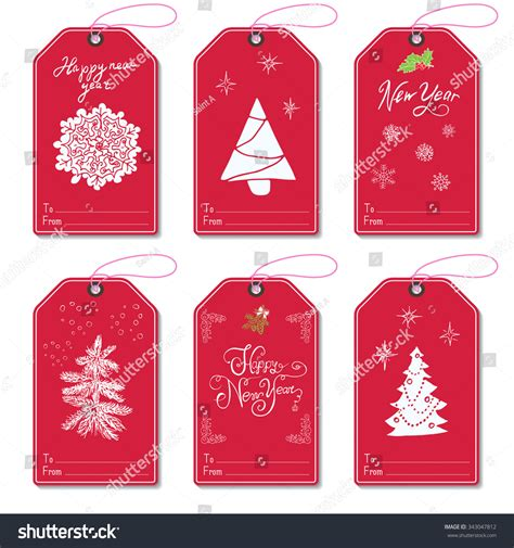 new year 2016 gift tag set new year gift tags vector stock vector 343047812