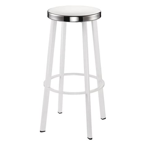 White Steel Bar Stools by Buy White Contemporary Metal Bar Stool With Circular Steel