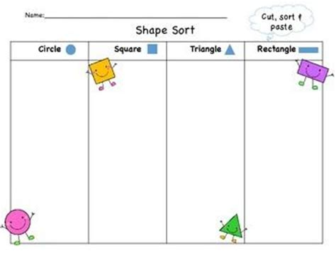 kindergarten cut and paste and shape on