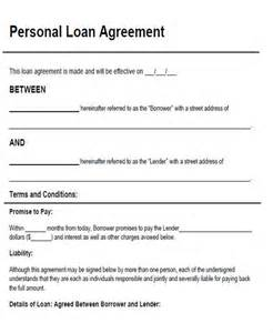 personal loan documents template agreement form sle
