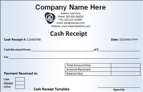 Printable Receipt Form. Printable Official Receipt