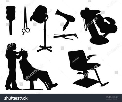 Hairstyle Tools Designs For Silhouette Cutting by Hairdressing Salon Supplies Silhouette Stock Vector
