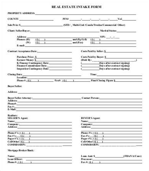 real estate documents templates intake form template 10 free pdf documents