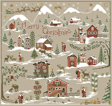 pattern for christmas village christmas village counted cross stitch patterns and charts