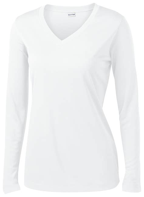 V Neck Basic Blouse White Neumor sport tek sleeve v neck polyester basic
