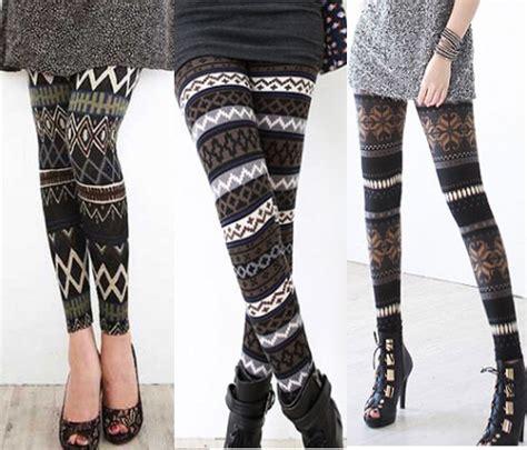 pattern knit leggings winter nordic fairisle pattern stripe snowflake thermal