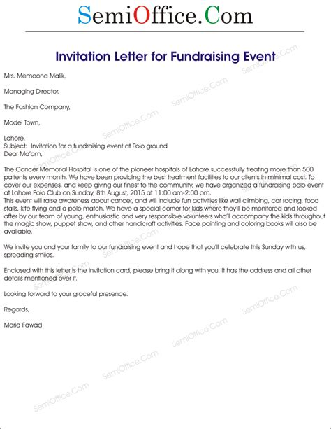 Letter For An Event Fundraising Event Invitation Letter Sle