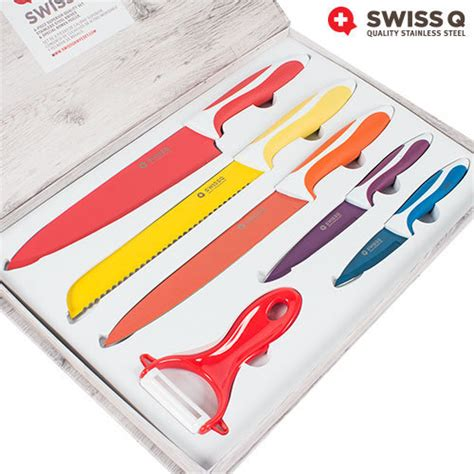 Coloured Kitchen Knives Buy Swiss Q 6 Stainless Steel Knife Set At Wholesale Price