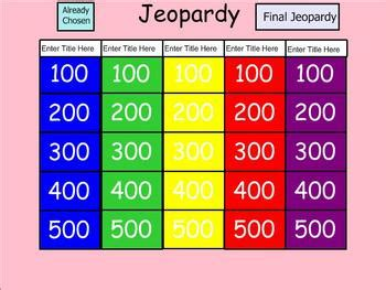 Jeopardy Template Smartboard smartboard jeopardy template by amanda cerny teachers