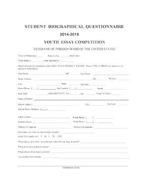 online biography form fillable online vfwmi student bio questionnaire 2014 15