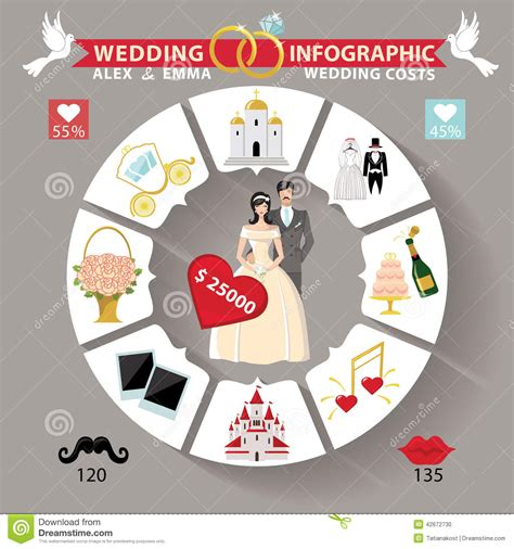 wedding infographic template wedding infographic circle concepts for wedding day stock